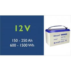Batterie solaire - Ultracell - Plomb -12 Volts - 100 à 250 Ah